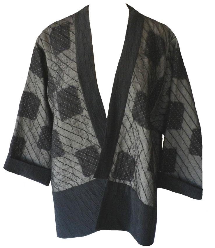 Juanita Girardin: Black and gray silk quilted patchwork kimono jacket : quilted kimono jacket - Adamdwight.com